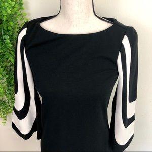 Trina Turk Dresses - Trina Turk Ponte Knit Hijnx Mod Bell Sleeve Dress